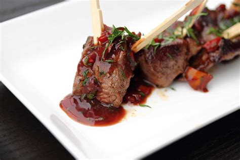 Kobe Beef Skewers with a Red Wine Demi Sauce - Marx Foods Blog