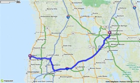 Driving Directions from Holiday, Florida to Orlando