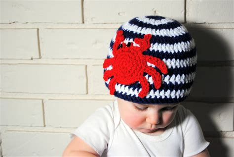 Crochet Crab Nautical Baby Summer Hat - ToryMakes - PinkLion