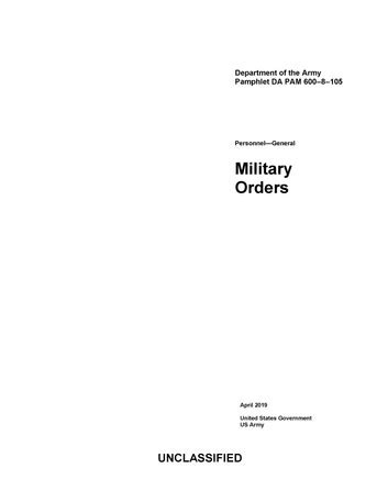 Department of the Army Pamphlet DA PAM 600-8-105 Personnel