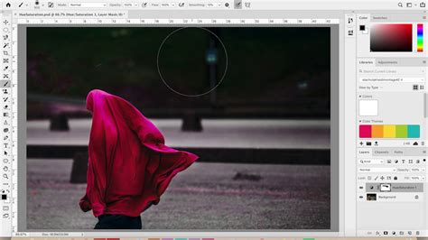Adding a Hue Saturation Adjustment Layer in Photoshop