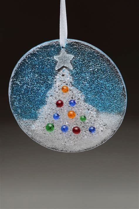 Glass Christmas Tree Holiday Hanging Ornament Fused comes