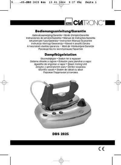CLATRONIC DBS 2825 Steam iron download manual for free now